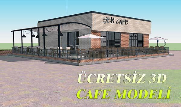 cretsiz 3d model - Ücretsiz 3D Cafe Modeli